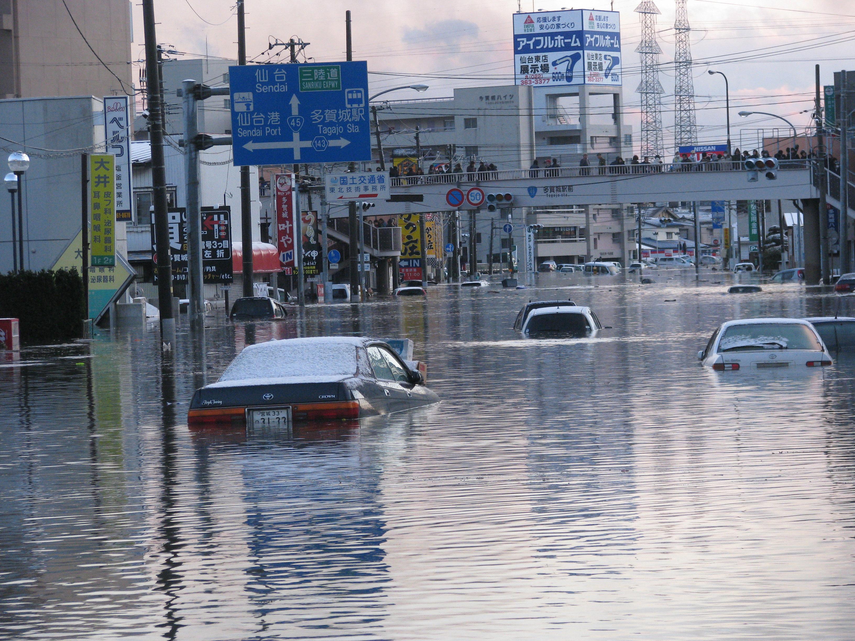 宮城県多賀城市で起こった東北大震災の津波