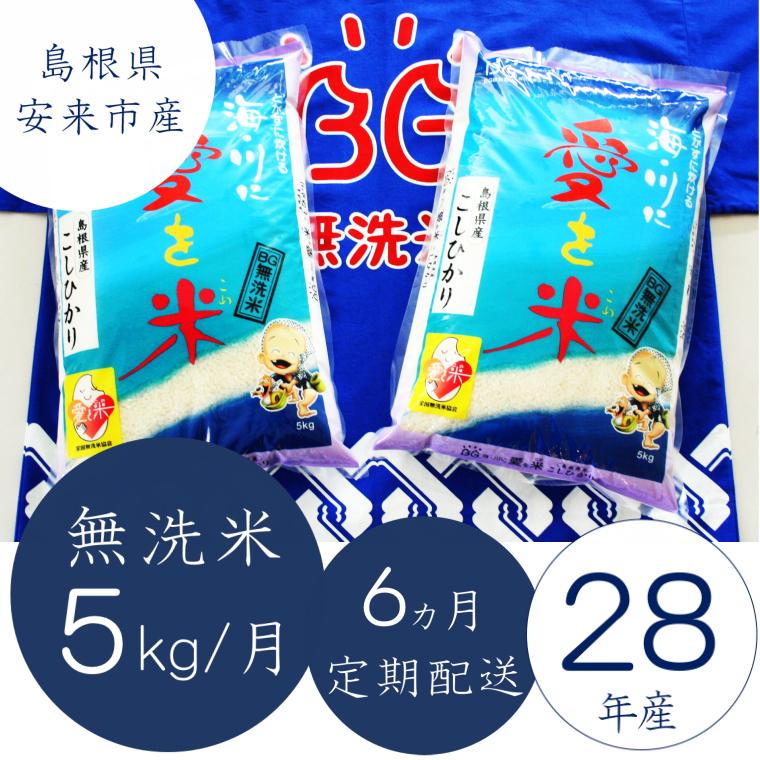 コシヒカリ無洗米 5kg×6ヵ月定期便 寄附金額 30,000円 (島根県安来市)