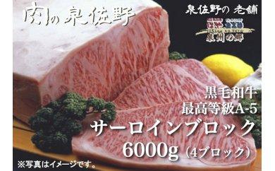 黒毛和牛最高等級A-5サーロインブロック6000g(4ブロック)寄付金額20万円(大阪府泉佐野市)