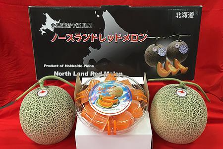 赤肉メロン(1.3kg×2玉)・ひとくちメロンゼリー(20個入) 寄付金額10,000円(北海道新十津川町)