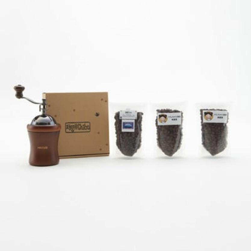 つくしちゃん珈琲とブルーマウンテンとコーヒーミルのセット 寄付金額20,000円(福岡県筑紫野市)
