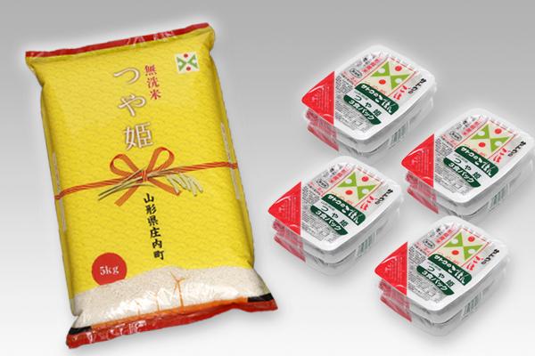 つや姫無洗米5kgとつや姫パックごはんセット 寄附金額10,000円(山形県東根市)