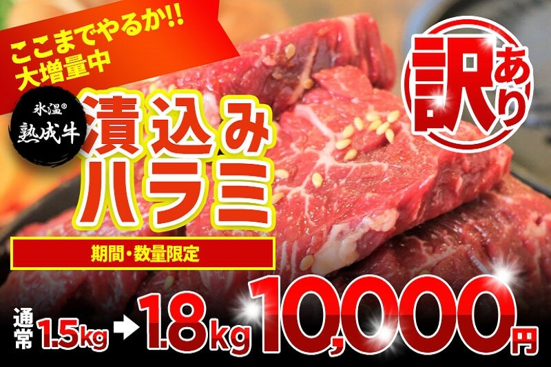 【GW限定増量】氷温(R)熟成牛 漬込みハラミ1.8kg(+300g 限界増量) 訳あり 期間・数量限定