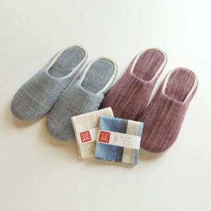 遠州綿紬 やわらかスリッパ2足&はんかち2枚セット