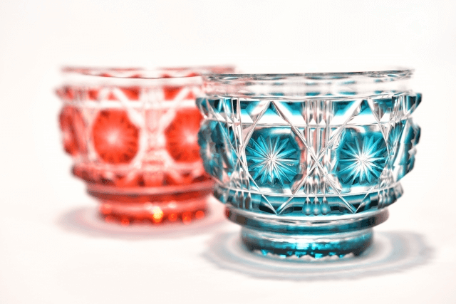 カガミクリスタル社製 伝統工芸士作「江戸切子 冷酒杯」5個
