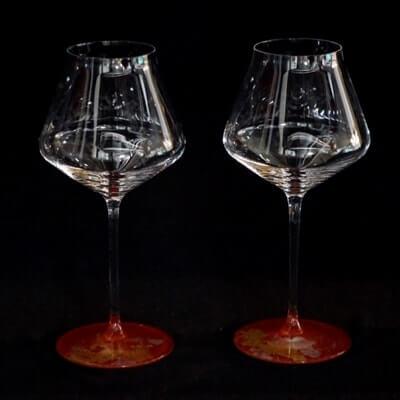 ワイングラスぺルラ2個セット 古代金箔本朱 イメージ