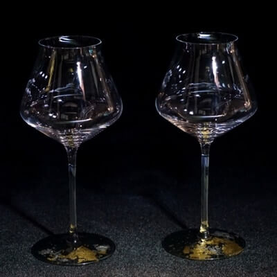 ワイングラスぺルラ2P(古代金箔・漆黒)