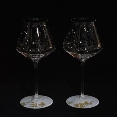 ワイングラスぺルラ2個セット 古代金箔純白 イメージ