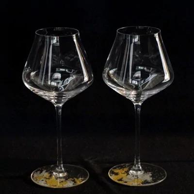 ワイングラスぺルラ2P(カラークリア金箔・クリア) イメージ
