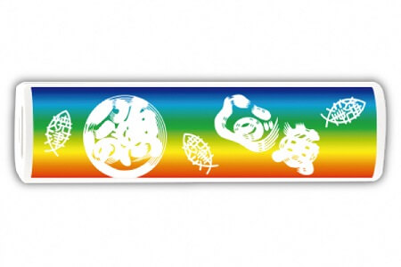魚河岸柄モバイルバッテリー 2500mAh 虹色 イメージ