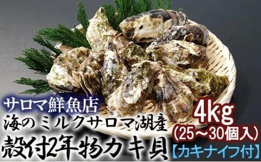 海のミルクサロマ湖産殻付2年物カキ貝 4kg (25~30個入)【カキナイフ付】