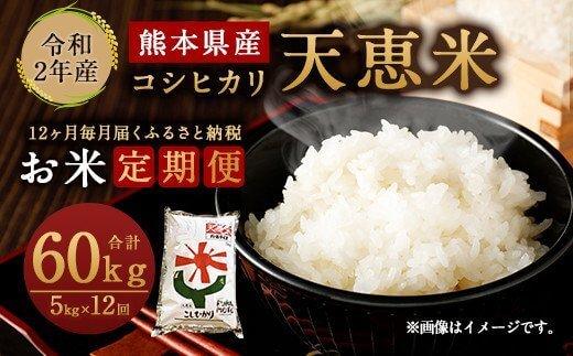 令和2年産 熊本県産 天恵米 コシヒカリ (熊本パールライス)5kg×1袋×12回