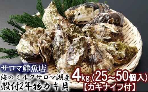 海のミルクサロマ湖産殻付2年物カキ貝 4kg (25~50個入)【カキナイフ付】