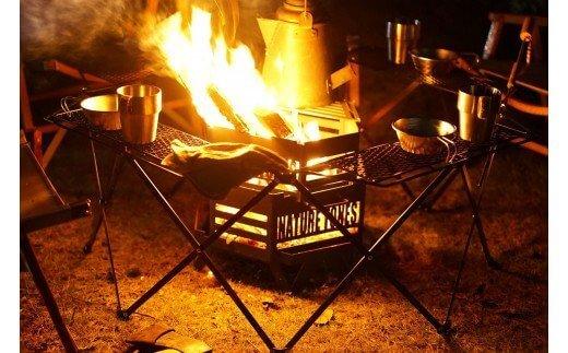 【ネイチャートーンズ】タワーオブボンファイヤー・オクタゴンファイヤーテーブルセット耐熱塗装ブラック[キャンプ用品・アウトドア焚き火]【予約商品】